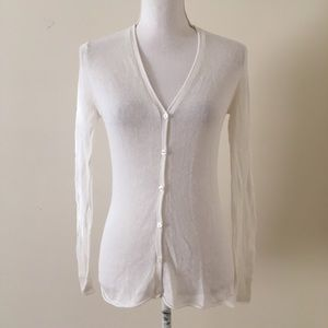 Relais Ivory Linen-Cotton Knit v-neck cardigan Sm